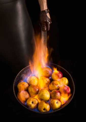 apples in flame