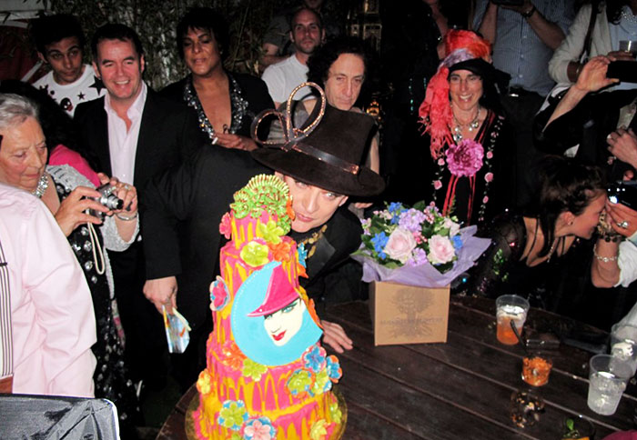 Wolfe was asked to cater longtime friend Boy George's 50th birthday bash in London. A menu of organic vegetarian Indian bowl foods and barbecue served by noted drag queens and dancing boys - What a party !